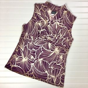 Tops - Purple Sleeveless Floral Blouse